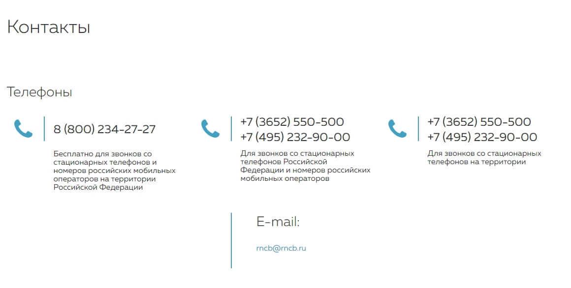 Телефон горячей линии банка РНКБ