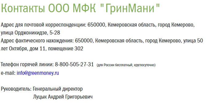 Контакты МФК Грин Мани