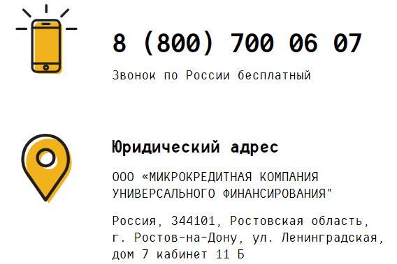 Телефон горячей линии OneClickMoney