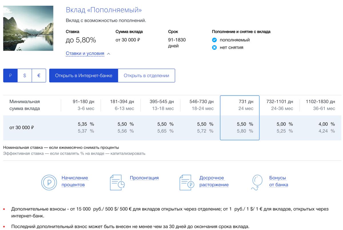 """Вклад ВТБ """"Пополняемый"""" - условия оформления, преимущества, процентная ставка"""