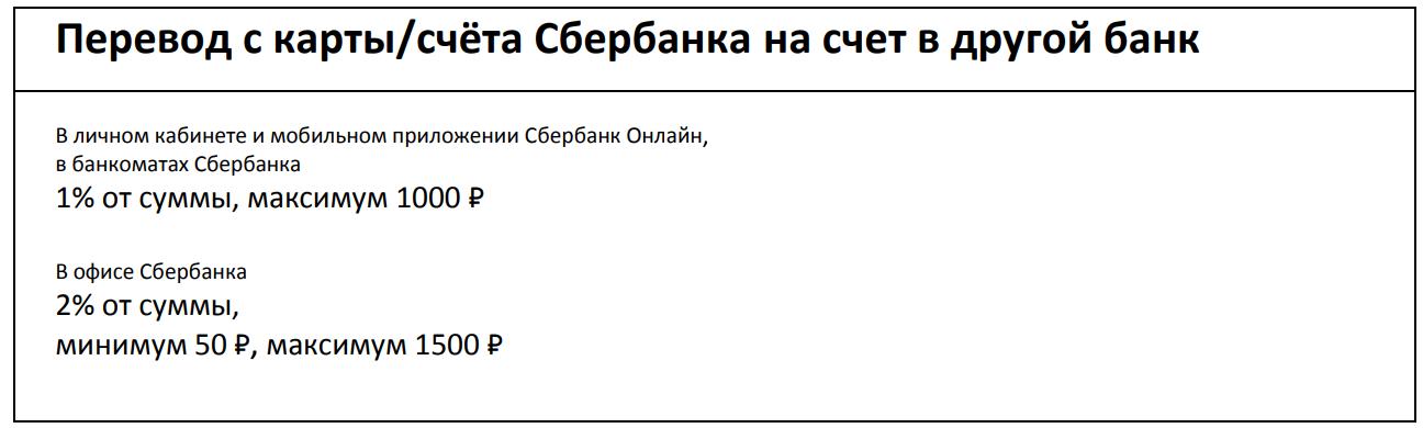 Комиссия за перевод с карты Сбербанка на счет в другой банк