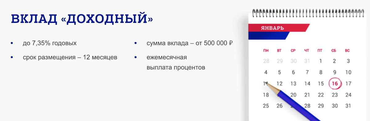 """Вклад """"Доходный"""" от Почта банка"""