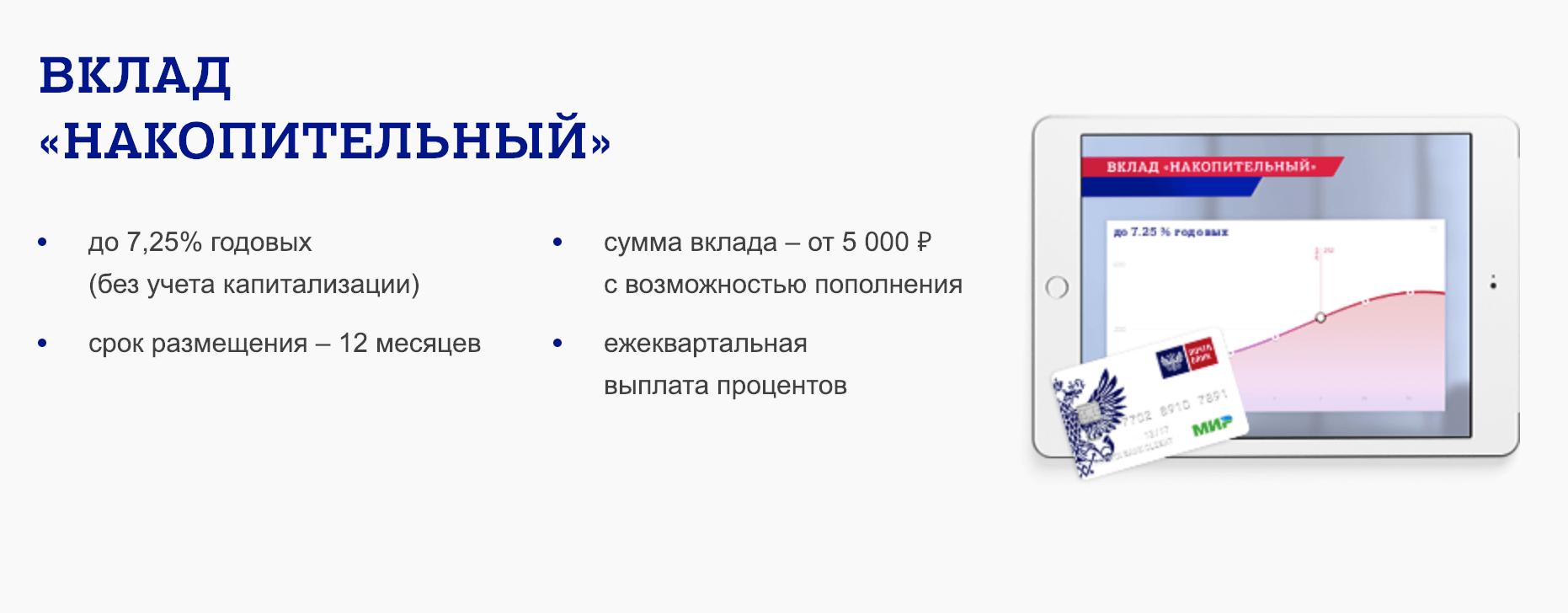 """Вклад """"Накопительный"""" от Почта банка"""