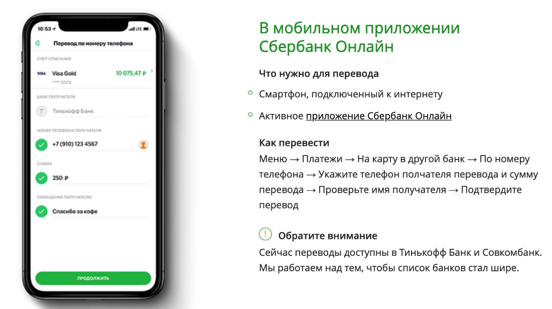Перевод денег через мобильное приложение Сбербанка