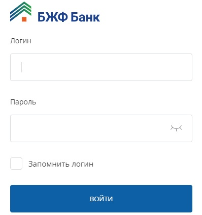 Форма для входа в БЖФ банк