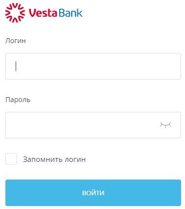 Форма для входа в Веста банк