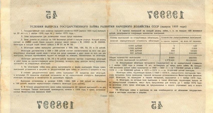 100 рублей (облигация) 1955 года