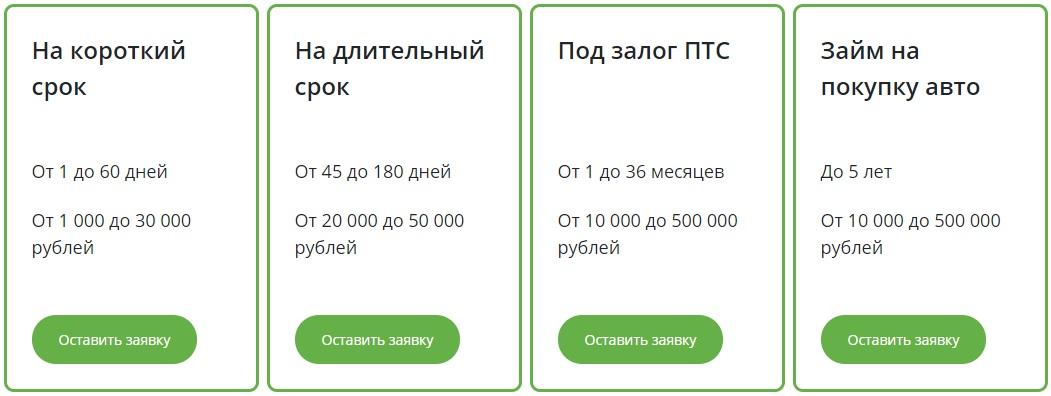 тарифы МФО Касса №1