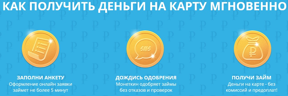 Получение денег на карту Монеткин