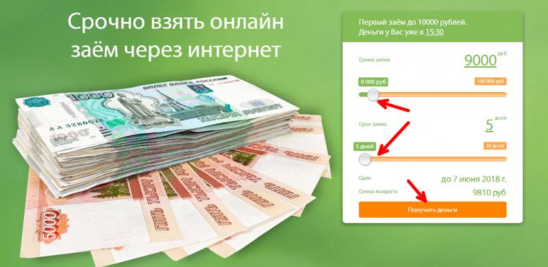 Интернет займ до 10000 рублей