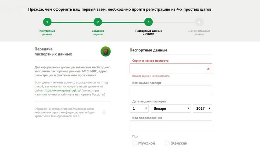 Паспортные данные серия и номер