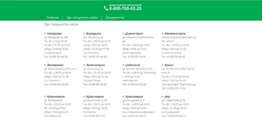 список адресов мфо