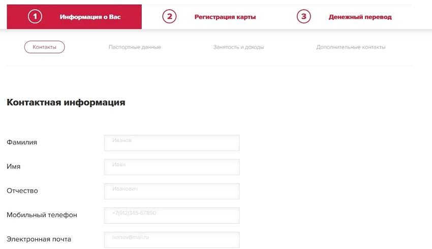 анкета онлайн-займа без паспорта