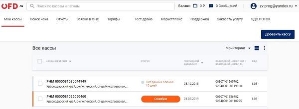 интерфейс лк офд