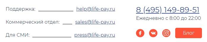 Lifepay контакты