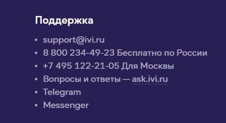 Ivi поддержка