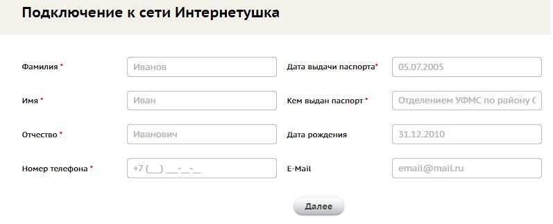Интернетушка заявка