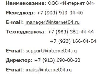 Интернет 04 контакты