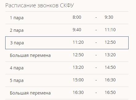 СКФУ расписание
