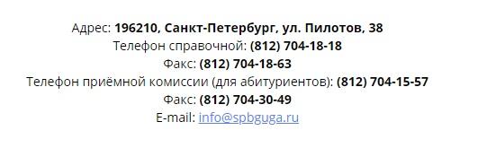 СПбГУГА контакты