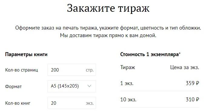 Ридеро.ру тираж