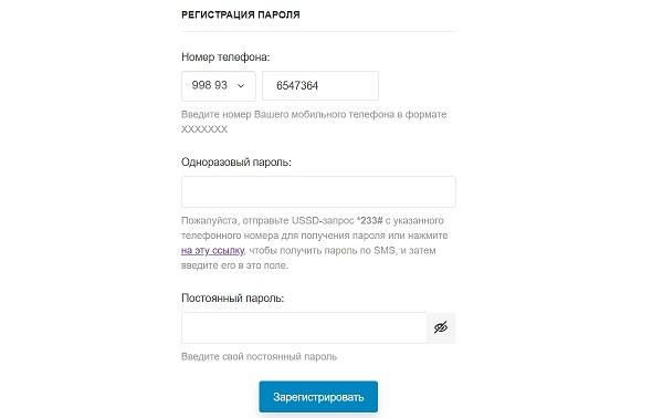 регистрация постоянного пароля юсел